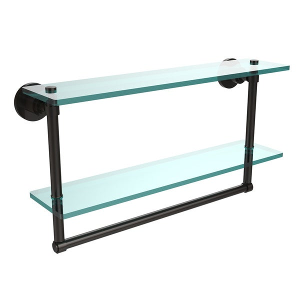 Washing Square Collection 22 Inch Two Tiered Glass Shelf