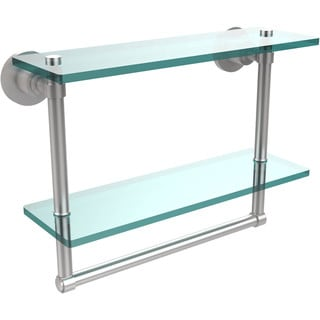 Washing Square Collection 16-inch Two Tiered Glass Shelf with Integrated Towel Bar