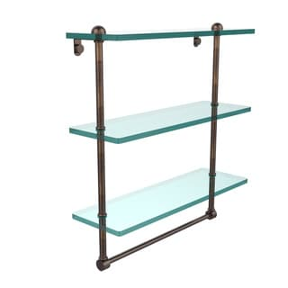 16-inch Triple Tiered Glass Shelf with Integrated Towel Bar