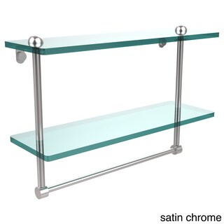 16-inch Two Tiered Glass Shelf with Integrated Towel Bar (More options available)