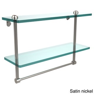 16-inch Two Tiered Glass Shelf with Integrated Towel Bar (3 options available)