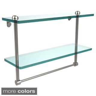 16-inch Two Tiered Glass Shelf with Integrated Towel Bar