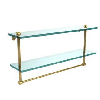 22-inch Two Tiered Glass Shelf with Integrated Towel Bar