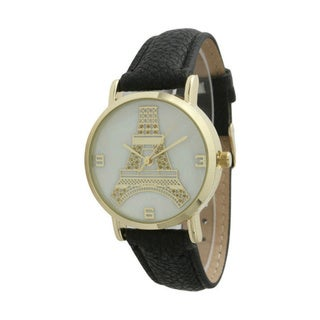 Olivia Pratt Women's Eiffel Tower Leather Strap Watch