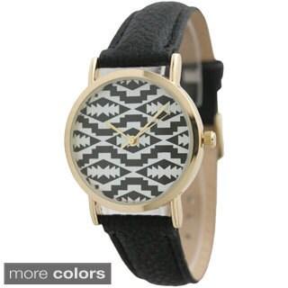 Olivia Pratt Women's Aztect Light Goldtone Alloy Leather Strap Watch