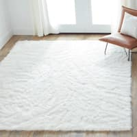 Clay Alder Home Newport Faux Sheepskin Ivory White Shag Area Rug - 7'6 x 9'6