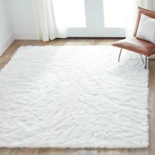 Faux Sheepskin Ivory White Shag Area Rug - 7'6 x 9'6