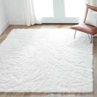 Faux Sheepskin Ivory White Area Rug 7 6 X