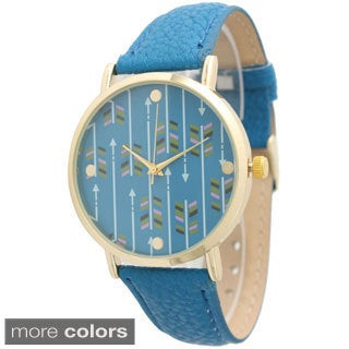 Olivia Pratt Women's Classic Arrow Print Leather Strap Watch