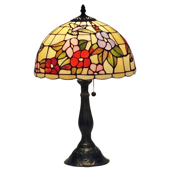 Amora Lighting Tiffany-style Floral Hummingbirds 19-inch Table Lamp