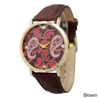 Olivia Pratt Women's Classic Paisley Leather Strap Watch (Option: Brown)