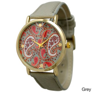 Olivia Pratt Women's Classic Paisley Leather Strap Watch (Option: Grey)