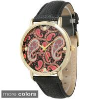Olivia Pratt Women's Classic Paisley Leather Strap Watch