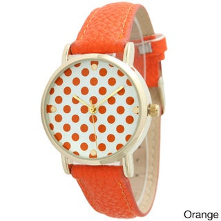 Olivia Pratt Women's Polka Dot Leather Strap Watch