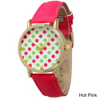 Olivia Pratt Women's Polka Dot Leather Strap Watch