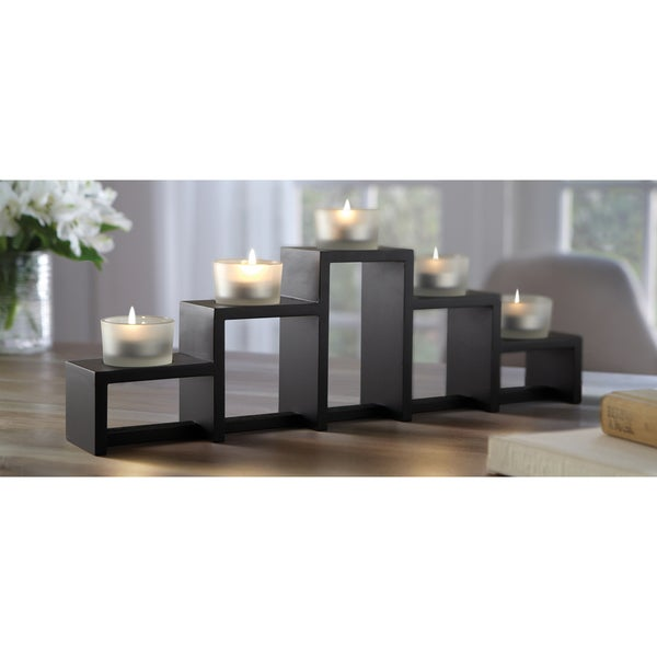 Order home collection 5 piece tiered wood votive holder for Fedora candle holder