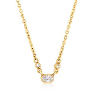 Eloquence 18k Yellow Gold 1/4ct TDW Diamond Dangle Necklace (H-I, SI1-SI2)