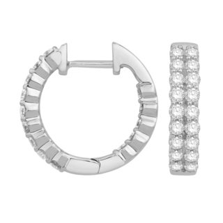 Eloquence 14k White Gold 1ct TDW Diamond Multi-Row Hoop Earrings (H-I, I1-I2)