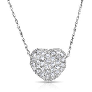 Eloquence 18k White Gold 1/2ct TDW Diamond Heart-Shaped Pendant (H-I, SI1-SI2)