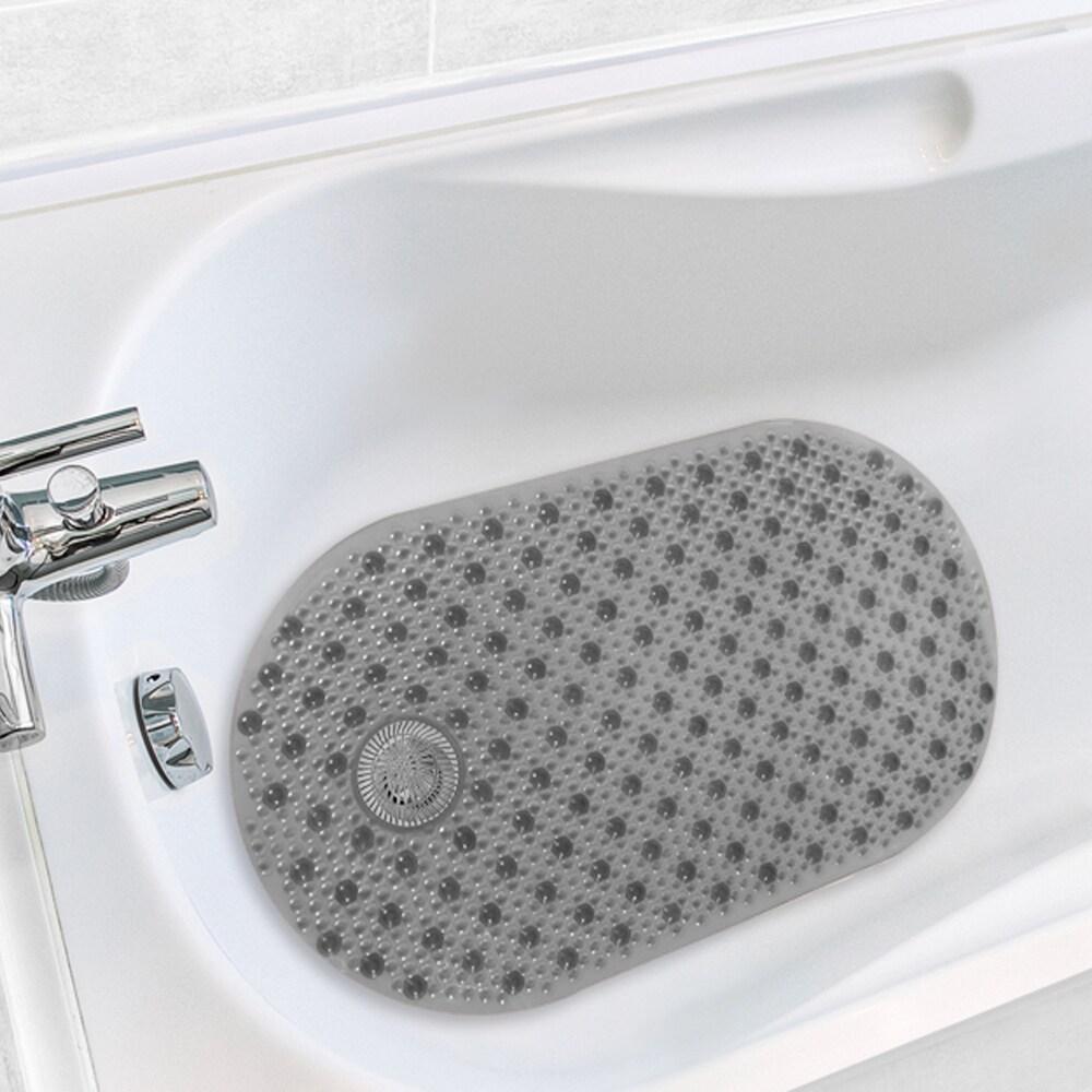 Antimicrobial Hair Catcher Bath Tub Mat (Gray), Grey (Syn...