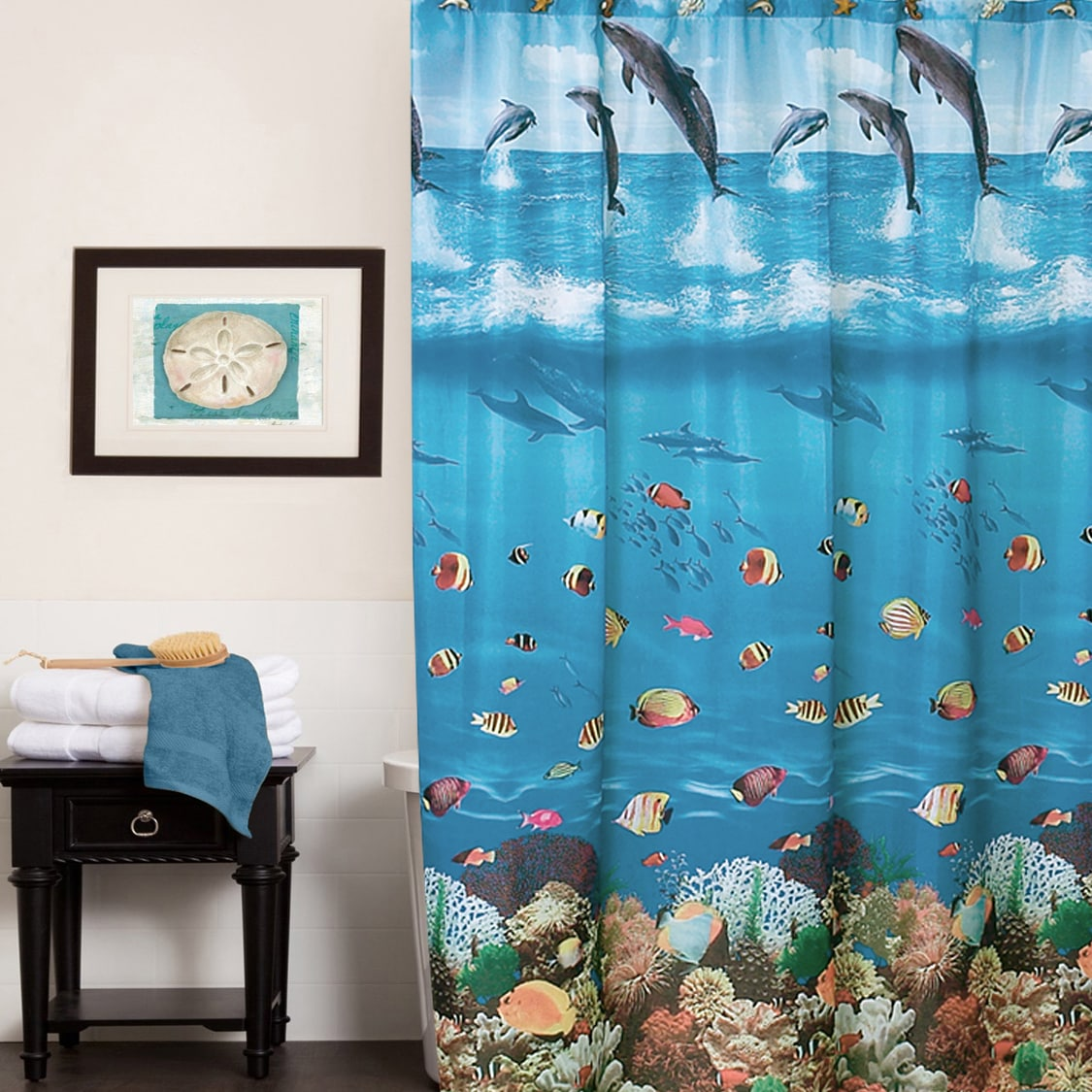 Shop Black Friday Deals On Colorful Underwater Ocean Paradise Water Resistant Fabric Shower Curtain Multi Color Overstock 10373304