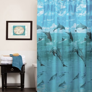 Playful Dolphins Water Resistant Fabric Shower Curtain