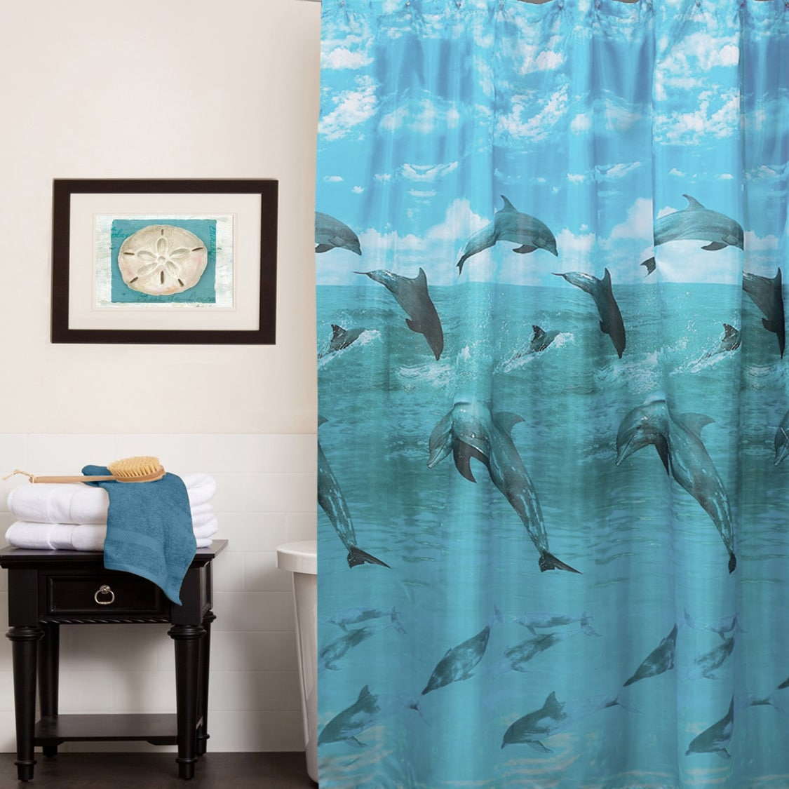 Playful Dolphins Water Resistant Fabric Shower Curtain 70 X 72