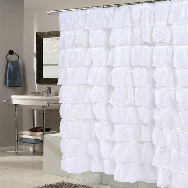 Shop Elegant White Crushed Voile Ruffled Tier Shower