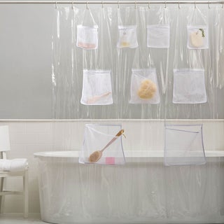 PEVA Chlorine/ Odor Free Shower Curtain/ Liner with 9 Mesh Pockets