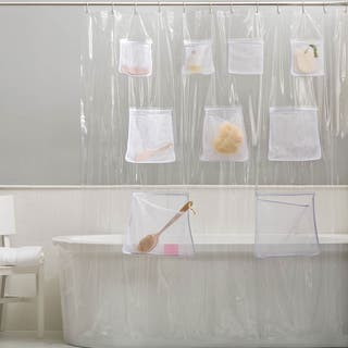 PEVA Chlorine Odor Free Shower Curtain Liner With 9 Mesh Pockets