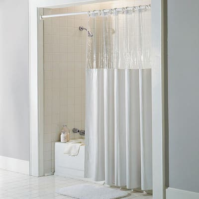 Antibacterial and Antimicrobial Mildew Resistant 'See Through Top' Clear/ White Vinyl Shower Curtain