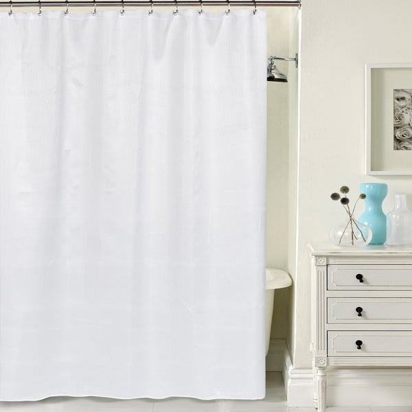 Hotel Quality Waffle Weave White Shower Curtain With Metal Grommets