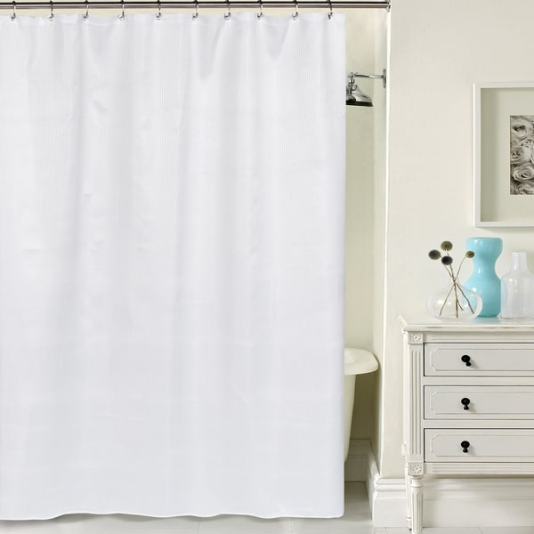 Shop Hotel Quality Waffle Weave White Shower Curtain With Metal Grommets