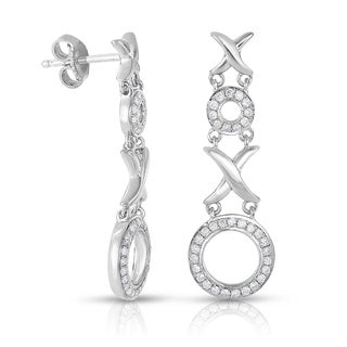 Eloquence Sterling Silver 1/3ct TDW Diamond 'XO' Dangling Earrings (H-I, I1-I2)
