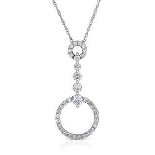 Eloquence 14k White Gold 3/4ct TDW Diamond Dangle Pendant (H-I, I1-I2)
