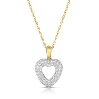 Eloquence 14k Yellow Gold 1/2ct TDW Diamond Heart-Shaped Pendant (H-I, I1-I2)