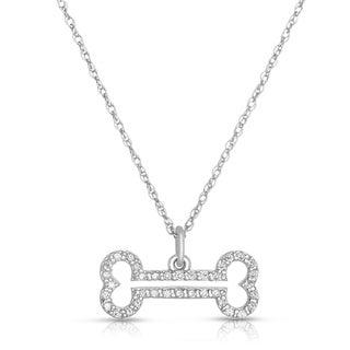 Eloquence 10k White Gold 1/4ct TDW Diamond Dog-Bone Motif Pendant (H-I, I2-I3)