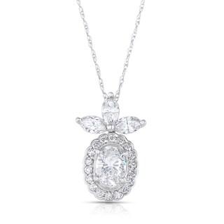 Eloquence 14k White Gold 1 4/5ct TDW Diamond Floral Motif Pendant (H-I, I1-I2)