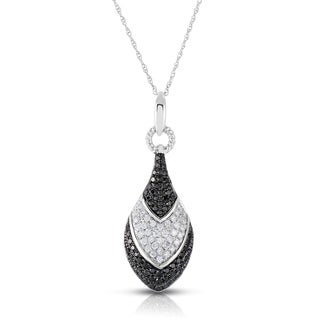 Eloquence 14k White Gold 1ct TDW White and Black Diamond Necklace (Black, I1-I2)
