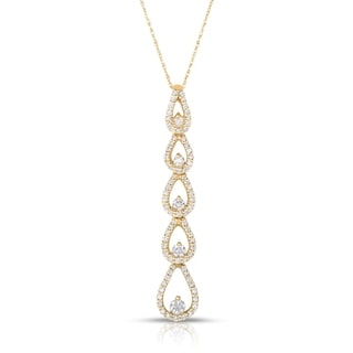 Eloquence 14k Yellow Gold 3/4ct TDW Diamond Dangling Necklace (H-I, I1-I2)