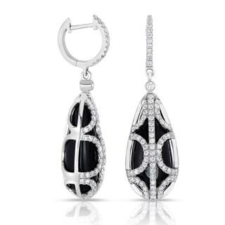 Eloquence 14k White Gold and Black Ceramic 1 1/2ct TDW Diamond Dangling Earrings