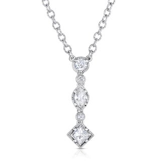 Eloquence 18k White Gold 2 1/10ct TDW Diamond Dangling Necklace (H-I, SI1-SI2)