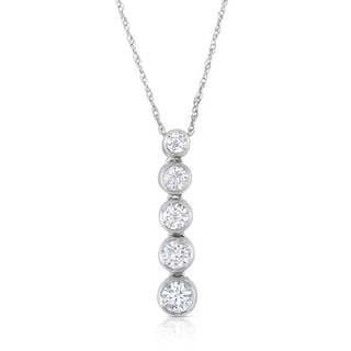 Eloquence 14k White Gold 1/2ct TDW Diamond Journey Pendant (H-I, I1-I2)