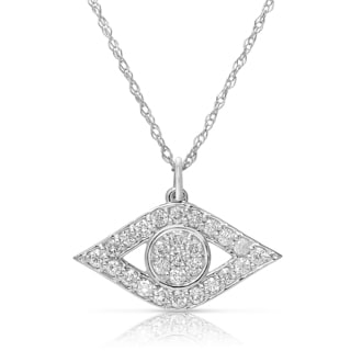 Eloquence 14k White Gold 1/2ct TDW Diamond Eye Necklacke (H-I, I1-I2)