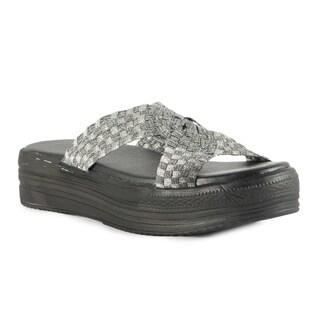 Heal USA Women's Fleur Silver Cross Band Platform Sandals