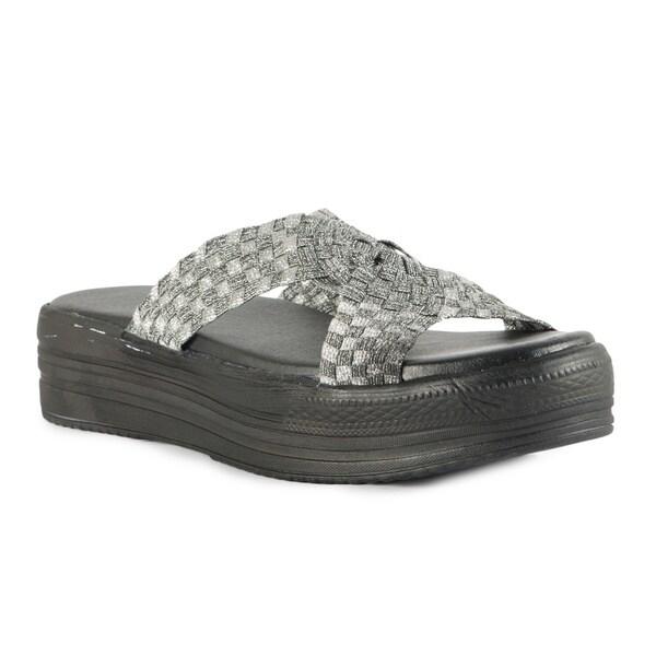 fd71b2389e Shop Heal USA Women's Fleur Silver Cross Band Platform Sandals ...