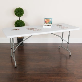 White Plastic Height Adjustable Folding Table