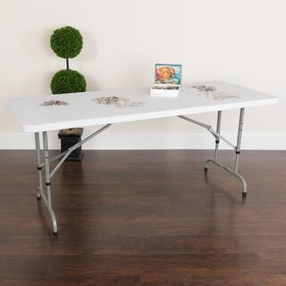 White Plastic Height Adjustable Folding Table|https://ak1.ostkcdn.com/images/products/10373410/P17479608.jpg?impolicy=medium