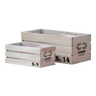 Distressed Wood Crate Planters (Set of 2)