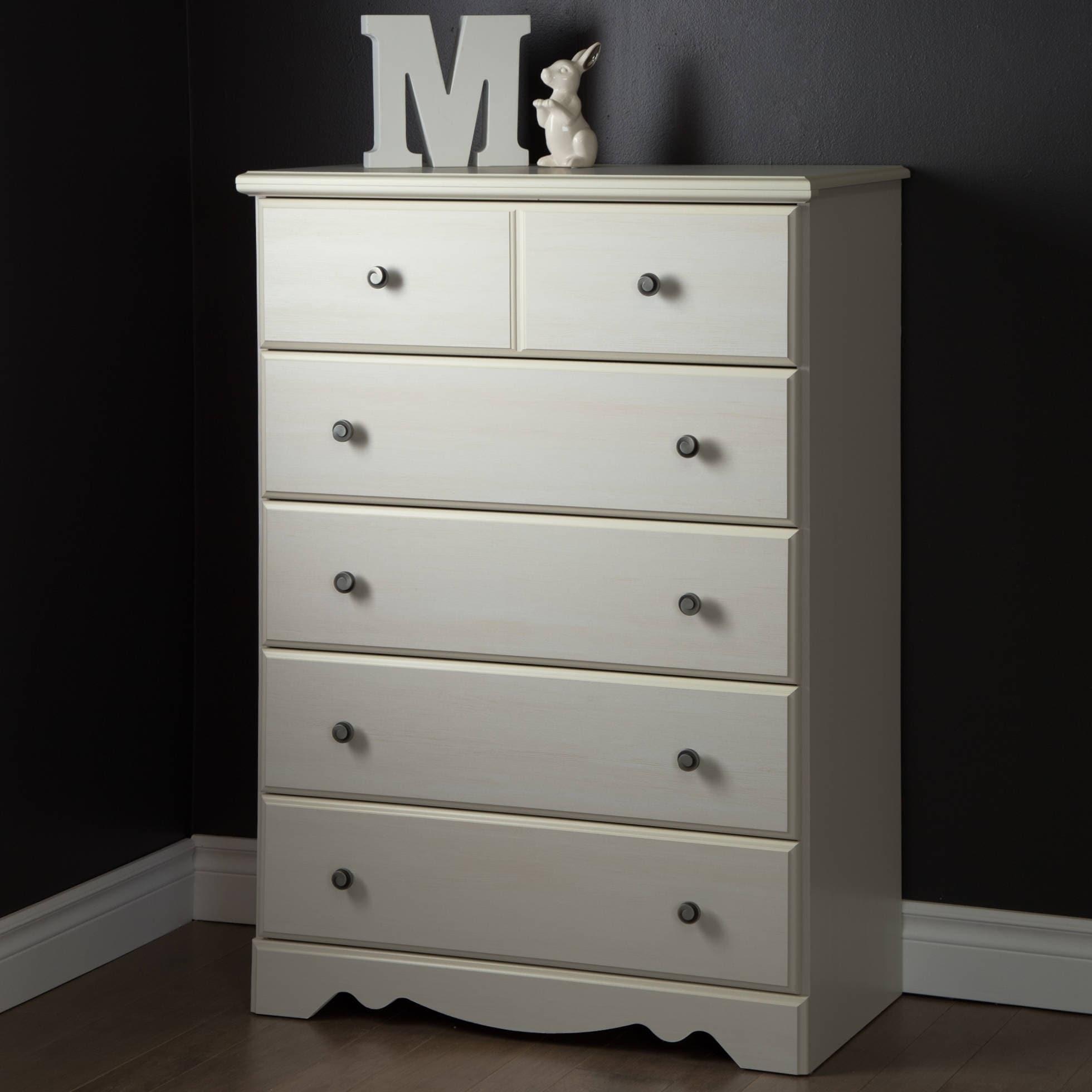 1395a4c9b79a Chest Dresser 5 Drawer Furniture White Nursery Kids Room Storage ...